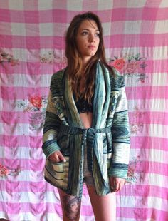 Vintage 1970s Green Space Dyed Aztec Belted by SweeetLeafVintage, $49.99