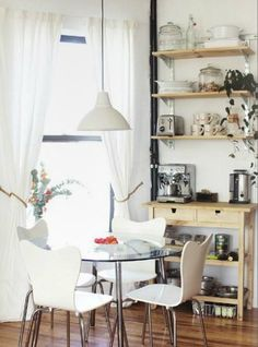 love the shelves...need the storage space...love the coffee bar idea!!!!