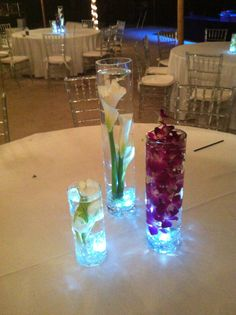 Submerged Tulips, Open Cut Calla Lilies Purple Dendrobium Orchids by Love In Bloom, Key West, Flowers, Centerpieces Calla Lily Centerpieces, Wedding Centerpieces, Submerged Flowers, In Bloom Florist, Purple Calla Lilies, Our Wedding, Wedding Ideas, Dendrobium Orchids, Center Pieces