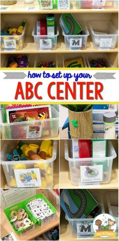 preschool classroom set up How to Set Up Your Preschool Alphabet Literacy Center ABC Center Set Up Ideas for your preschool or pre-k classroom. How to set up and organize your literacy center plus suggested materials. Writing Center Preschool, Preschool Classroom Setup, Prek Literacy, Kindergarten Centers, Kindergarten Literacy Centers, Preschool Set Up, Writing Centers, Literacy Stations, Classroom Design