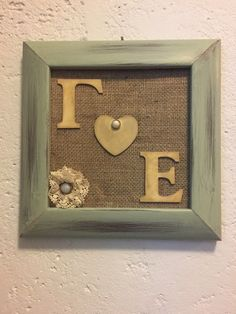 Personalized wedding gift with couples initials burlap and lace ribbon!! Handmade by Pasatempos!!!