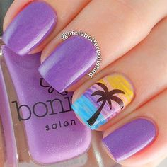 tropical scene feature nail on purple manicure