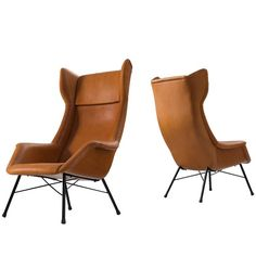 Lounge Chairs in New Leather Upholstery by M. Navratil | 1stdibs.com