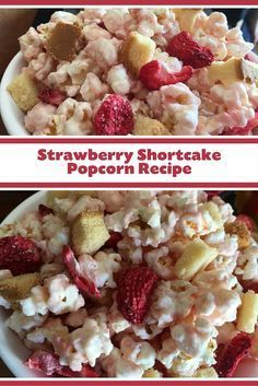 Your favorite classic dessert with a twist! This easy to make and oh so delicious Strawberry Shortcake Popcorn Recipe from Kernel Season's will be your family's new favorite movie time snack. This is also the perfect sweet treat for friends and family thi Popcorn Snacks, Candy Popcorn, Flavored Popcorn, Gourmet Popcorn, Popcorn Balls, Popcorn Mix, Oreo Popcorn, Popcorn Shop, Sweet Popcorn