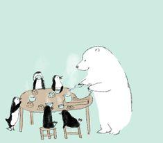 momoro illustration Bear Illustration, Japanese Illustration, Bear Images, Bear Wallpaper, Love Bear, Polar Bear, Penguins, Craft Projects, Concept