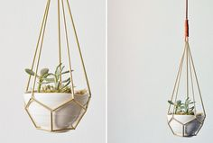 Shoutout: DIY Leather and Brass Teardrop Hanging Planter via Brit + Co.