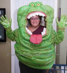 Awesome Homemade Slimer Costume from Ghostbusters... This website is the Pinterest of costumes