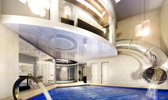 Indoor slide to pool-- Just what we need!!