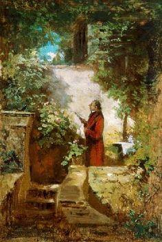 Carl Spitzweg - The newspaper reader in the family garden