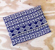 Navy blue fold over clutch / floral pattern  pouch / by LaPasoBien, $125.00