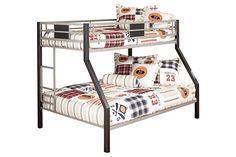 Black/Gray Dinsmore Twin/Full Bunk Bed View 2