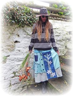 Whimsical Skirt Upcycled Stretch Flared Recycled by TheTopianDen