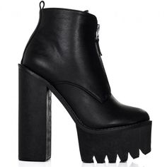 BANDIT Chunky Cleated Sole Zip Platform Ankle Boots Black Leather... (310 GTQ) ❤ liked on Polyvore featuring shoes, boots, ankle booties, heels, leather booties, ankle boots, black heel boots, black leather bootie and short black boots