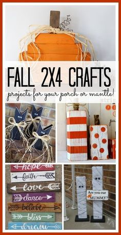 Fall Craft Projects - Sugar Bee Crafts Fall crafts that are perfect for your porch or mantle! Kids Crafts, 2x4 Crafts, Fall Wood Crafts, Wood Block Crafts, Scrap Wood Projects, Fall Projects, Wooden Crafts, Crafts To Sell, Craft Projects