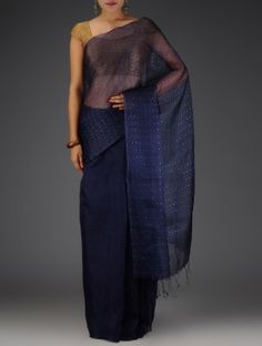 Navy Blue Sequins Embellished Tussar Silk Saree
