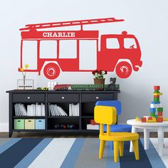 Personalised Fire Engine Vinyl Wall Sticker from notonthehighstreet.com