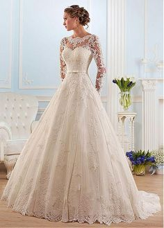 Buy discount Glamorous Tulle Bateau Neckline Ball Gown Wedding Dress With Lace Appliques at Magbridal.com
