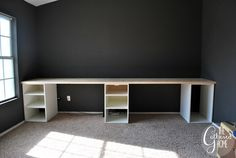 How To Make DIY Ikea Hack Desk with Plank Top - File cabinets instead would do nicely.