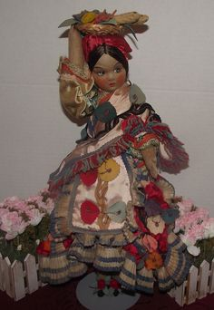 "Beautiful Vintage Joao Perotti Cloth Lady Felt Boudoir Doll 20"" Circa 1930's"
