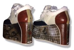Custom hand drawn / painted platform shoes by Toronto artist Paul Limgenco for celebrity musician ADELE - watch the video for details & more CELEBRITIES' custom gifts! Custom Gifts, Customized Gifts, Platform Shoes, Adele, Hand Drawn, Toronto, Exotic, How To Draw Hands, Artisan