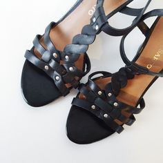 Franco Sarto - Studded Wedge Franco Sarto sandal with braided heel and stud detail. Labeled size 7.5 but fits like a size 7 since Franco Sarto runs small. New without tags. Never worn.  Offers welcome.  No trades.  Bundle for discount. Franco Sarto Shoes Wedges