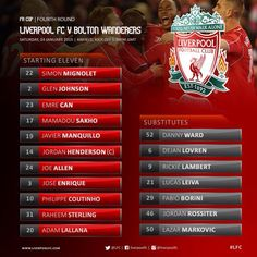 Liverpool FC   @LFC Today's #LFC line-up and substitutes in full on our matchday graphic