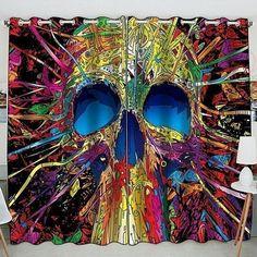 Skull Color Printed Window Curtain Home Decor