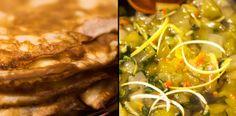 Dulceata de pepene verde, ardei iute si coriandru. Cu clatite. Waffles, Pancakes, Seaweed Salad, Pickles, Ramen, Salads, Goodies, Dinner, Ethnic Recipes