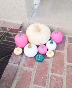 white, pink, and teal pumpkins on our instagram!