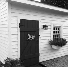 Garden sheds, window box and door figure