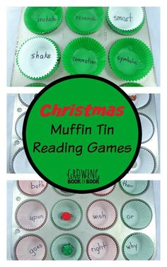 A holiday version of the ever popular post of muffin tin reading games for kids.  Perfect for practicing sight words, beginning sounds and vocabulary!