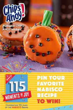 Learn more at www.Nabisco115Moments.com! Pin Your Favorite NABISCO recipe for a chance to win $115…winner every day. These Pumpkin CHIPS AHOY!wiches are sure to put a smile on your face, even if it is hidden behind a monster mask!