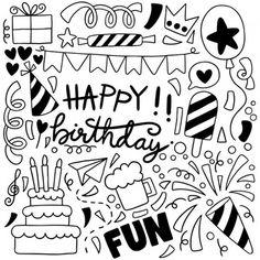 Dibujado A Mano Fiesta Doodle Feliz Cumpleaños Adornos Fondo Patrón Ilustración Happy Birthday Doodles, Happy Birthday Cards Handmade, Creative Birthday Cards, Happy Birthday Art, Cute Birthday Gift, Easy Doodles Drawings, Doodle Art Drawing, Simple Doodles, Lettering Tutorial