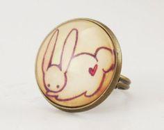 Kawaii Bunny Rabbit Ring, Cute Adjustable Art Ring
