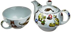 Amazon.com | Cardew Cat-Tea Tea Set for One with 16-Ounce Pot and 10-Ounce Cup: Single Serving Teapots: Tea-For-One Sets