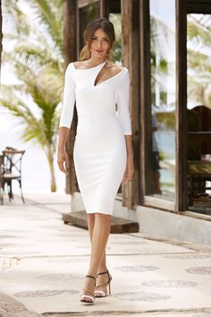 Women's Dresses | Women's Cutout Three-Quarter Sleeve Sheath Dress by Boston Proper. Bold and unexpected details created for compliments. Turn heads in our new collection of dresses.