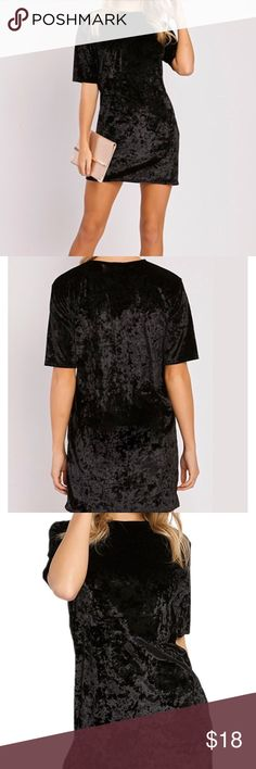 "Vintage Crushed Velvet Short Sleeve T Shirt Dress Women's Vintage Crushed Velvet Short Sleeve T Shirt Mini Dress Size Small.  Length: 33.07""  Bust: 35.43""  Sleeve: 7.87""  Waist: 29.13"" Material: Velvet; soft comfortable and breathable Features: Crew Neck, Short Sleeve, Slim Fit, Velvet Washing and Ironing: Hand wash cold, Hang dry Dresses Mini"