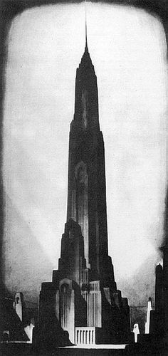 If Orthanc (Lord of the Rings) had been designed by Hugh Ferriss.