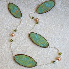 Opera Length Necklace Decoupaged Statement Necklace Aqua Swarovski Crystals Pearls by rrizzart $64.00