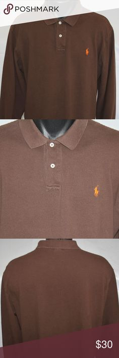 Ralph Lauren Polo L/S Polo Shirt, Cotton Mesh NICE Very, Very Nice condition. Nice rich brown color. XL Check out the pictures. Perfect match with Orange Pony. Split hem bottom, banded Sleeves, classic fit 2 Button collar with the Iconic Orange Pony Measurements in tailor's diagram No rips tears or stains from a smoke free home. Polo by Ralph Lauren Shirts Polos
