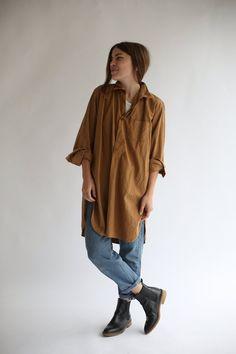 eca524411a11 Vintage Overdye Almond Brown Tunic Shirt Long Sleeve Button Tunic Shirt