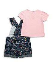 Baby Girls Floral Overalls and Tee Set