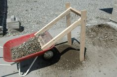 "Reverse Dirt Sifter by Mild Steel -- Homemade reverse dirt sifter constructed from 1/2"" wire screen, 2x4 lumber, and a wheelbarrow. http://www.homemadetools.net/homemade-reverse-dirt-sifter"