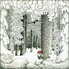 Benji Gnome will add frosty burdock seeds to the decor. - (illustration by Swedish artist Lennart Helje) Art And Illustration, Christmas Art, Vintage Christmas, Theme Noel, Faeries, Illustrators, Folk Art, Fantasy Art, Fairy Tales