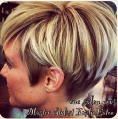 "A bit short for me, but still cute! [ ""Love the shortness of the back, and how stacked and blended in back..."", ""Cut and highlights"", ""Short hair cuts"", ""50 Mind-Blowing Short Hairstyles for Short Lover"", ""When I"