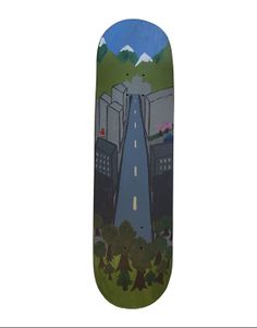 """Handpainted skateboard deck - By Fleur Broes - """"A Little Red Riding Hood in a Big City"""""""