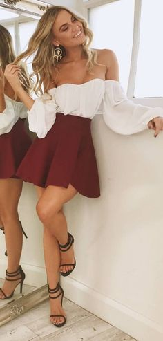 #spring #outfits Outfit On Point!✔️white Off The Shoulder Blouse 'After Sundown' Top + Wine 'Real Deal' Skirt❤️