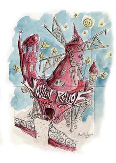 ©Alban Guillemois - Croquis Moulin Rouge pour court-métrage #albanguillemois #artiste #decorcinema #moulinrouge #paris #monumentsdeparis