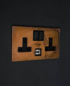 Our copper double plug socket USB is purposely produced with a random individually distressed finish and left untreated allowing it to age with use Copper And Grey Kitchen, Rose Gold Kitchen, Best Kitchen Lighting, Kitchen Lighting Design, Kitchen Design, Copper Splashback, Designer Light Switches, Light Switches And Sockets, Grey Bedroom With Pop Of Color