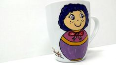 Handmade by Do : Painted cups/ Căni pictate Greek Pattern, Ceramic Angels, Painted Cups, Flower Stands, On October 3rd, Coffee Set, Hand Painted Ceramics, Ceramic Mugs, Handmade